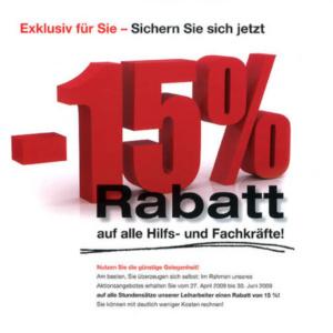 15 Prozent Rabatt (Leiharbeit)